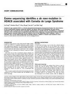 Exome sequencing identifies a de novo mutation in ...