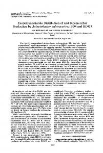 Exopolysaccharide Distribution of and Bioemulsifier Production by ...