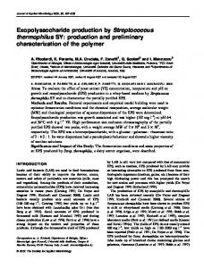 Exopolysaccharide production by Streptococcus thermophilus SY ...