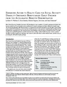 Expanding Access to Health Care for Social Security Disability ...