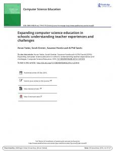 Expanding computer science education in schools ...