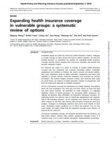 Expanding health insurance coverage in vulnerable groups: a ...
