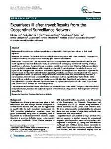 Expatriates ill after travel: Results from the ... - BioMedSearch