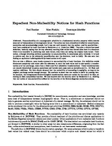 Expedient Non-Malleability Notions for Hash ... - Semantic Scholar