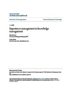 Experience management in knowledge management