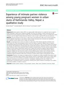 Experience of intimate partner violence among ... - BioMed Central
