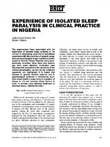 experience of isolated sleep paralysis in clinical practice in ... - NCBI