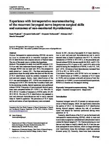 Experience with intraoperative neuromonitoring of the recurrent ... - Core