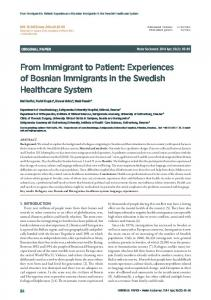 Experiences of Bosnian Immigrants in the Swedish