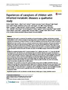 Experiences of caregivers of children with inherited metabolic ...