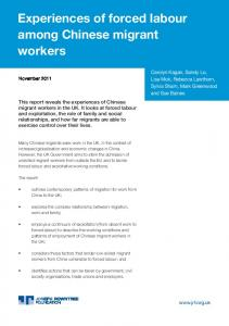 Experiences of forced labour among Chinese migrant workers