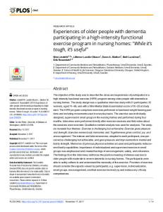 Experiences of older people with dementia participating in a ... - PLOS