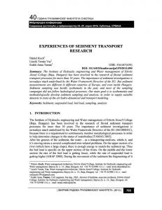 EXPERIENCES OF SEDIMENT TRANSPORT RESEARCH