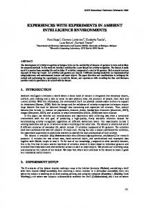 experiences with experiments in ambient ... - Semantic Scholar