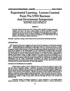Experiential Learning: Lessons Learned From The UND ... - Eric