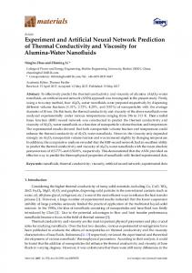 Experiment and Artificial Neural Network Prediction of Thermal