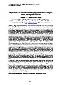 Experiment on decision-making approaches for complex ... - MSSANZ