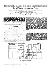 Experimental analysis of a series resonant converter for ... - IEEE Xplore