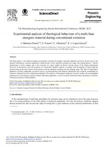 Experimental Analysis of Rheological Behaviour of a ... - Science Direct