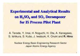 Experimental and Analytical Results on H SO and SO Decomposer for ...