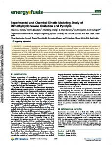 Experimental and Chemical Kinetic Modeling Study
