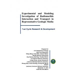 Experimental and Modeling Investigation of Radionuclide Interaction ...