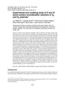 Experimental and modeling study of O and Cl atoms ... - IUPAC