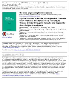 Experimental and Numerical Investigation of