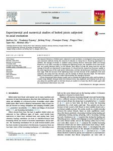 Experimental and numerical studies of bolted joints