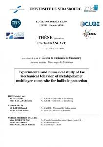 Experimental and numerical study of the mechanical ...