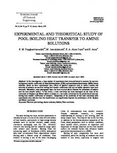 experimental and theoretical study of pool boiling heat transfer to ...