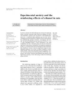 Experimental anxiety and the reinforcing effects of ethanol in rats