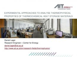 Experimental approaches to analyse thermophysical ... - phox.at