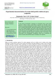 Experimental characterization of coconut shell particle reinforced ...
