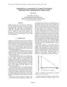 EXPERIMENTAL COMPARISON OF COMPLEX AND ... - CiteSeerX