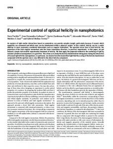 Experimental control of optical helicity in nanophotonics - Nature