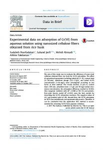 Experimental data on adsorption of Cr (VI) from aqueous solution ...