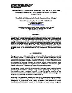 experimental design of mixture applied to study pvp hydrogels ...