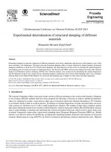 Experimental Determination of Structural ... - ScienceDirect.com