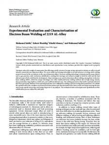 Experimental Evaluation and Characterization of Electron Beam ...