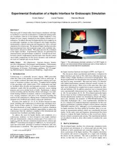 Experimental Evaluation of a Haptic Interface for ... - Infoscience - EPFL