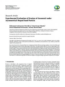 Experimental Evaluation of Erosion of Gunmetal under Asymmetrical ...
