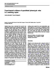 Experimental evidence of specialised phenotypic ... - CEBC - CNRS