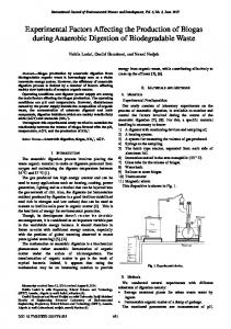 Experimental Factors Affecting the Production of Biogas during ...