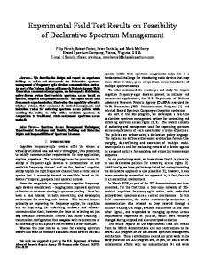 Experimental Field Test Results on Feasibility of Declarative Spectrum ...