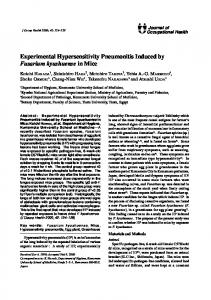 Experimental Hypersensitivity Pneumonitis Induced by Fusarium ...
