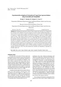 Experimental Investigation of Adsorption of Copper from Aqueous