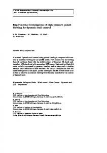 Experimental investigation of high-pressure pulsed ...