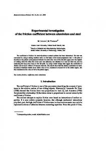 Experimental investigation of the friction coefficient ... - CiteSeerX