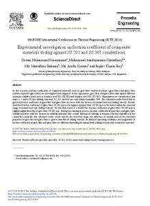 Experimental Investigation on Friction Coefficient of ... - CORE